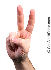 victory sign - with clipping path