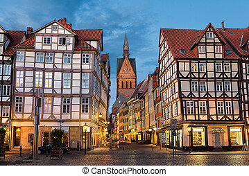 Old town of Hannover, Gemany - Marktkirche and the old town...