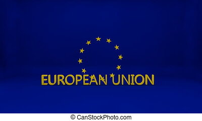 European Union Flag Smash broken stars bouncing - European...