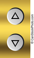 Elevator button - Up and down silver buttons over golden...