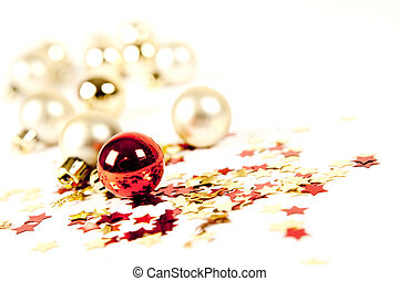decorations and stars on white background - red decorations