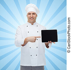 happy male chef cook showing with tablet pc - cooking,...