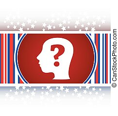 Human head with question mark symbol, web icon vector
