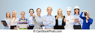 happy businesswoman over professional workers - people,...