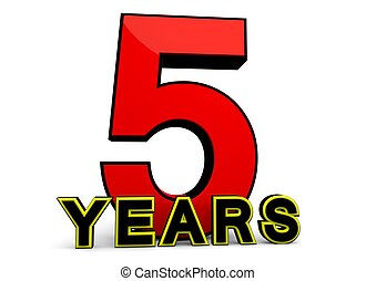 Years - A large red number behind the word YEARS