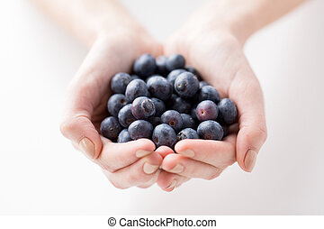 close up of woman hands holding blueberries - healthy...