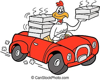 Vector-Rooster Delivering Chicken - Royalty-free clipart...