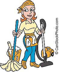 Vector-Maid Mopping and Vacuming - Royalty free clipart...