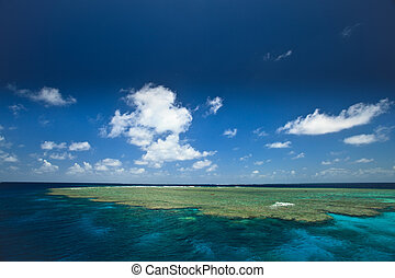 Sunny Day at Clam Beds in Great Barrier Reef Park, Australia...
