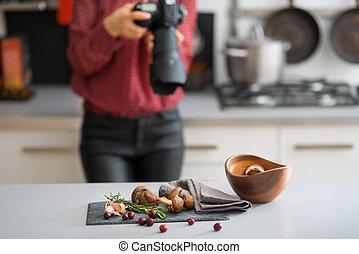 mulher, fotógrafo, focos, lente, Outono, frutas, e,...