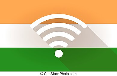 India flag icon with a radio signal sign