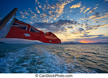 Aussie Flag Sunrise in Cairns Harbor - Cairns Harbor Sunrise...