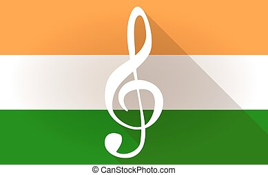 India flag icon with a g clef - Illustration of an India...