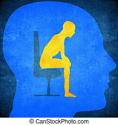 psyche - blue human head silhouette with a man sitting...