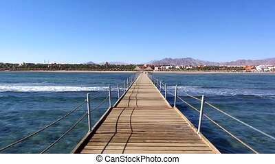 Wooden pontoon at a resort in Sharm El Sheikh in Egypt