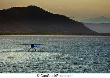 Floatplane Moored in Cairns Harbor - Float Plane Moored in...