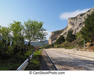 asphalt road in the mountains Crimea