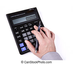hand typing on a calculator