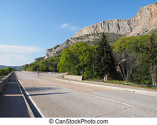 asphalt road in the mountains. Crimea