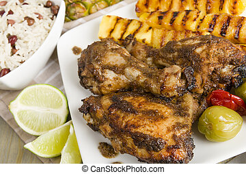 Jerk Chicken - Jamaican marinated BBQ chicken served with...
