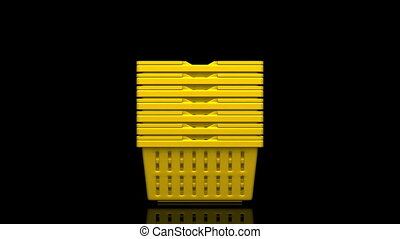 Yellow Shopping Baskets On Black Background. 3D render...