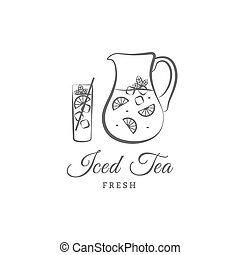 Iced tea vector logo or sign Vector illustration jug, glass,...
