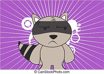 raccoon kid cartoon expression3 - raccoon kid cartoon...