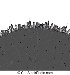 Vector modern city Cityscape background for your design,...
