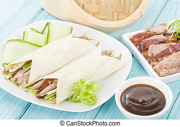 Peking Duck - Chinese roast crispy duck, cucumber and spring...