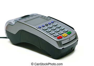 Credit card terminal isolated on the white background