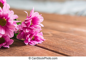 Beautiful spring blossom on wooden background.