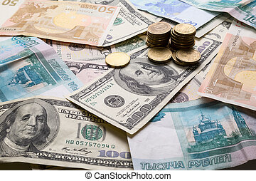 Money from different countries: dollars, euros, rubles