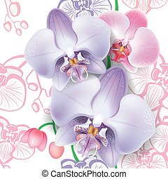 Seamless floral pattern with orchid