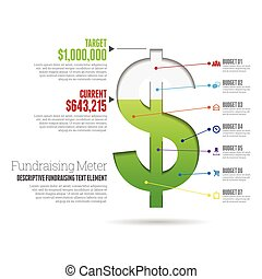 Fundraising Meter Infographic - Vector illustration of...