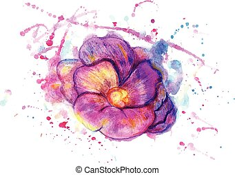 Watercolor Flower - Abstract stylized flower in watercolor...