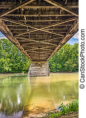 Beneath Potters Covered Bridge - The view beneath the wooden...