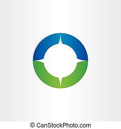 green blue compass icon design