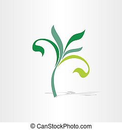 green eco tree floral plant icon
