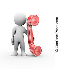 3d man telephone partnership - 3d illustration of man...