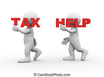 3d people word text tax help - 3d illustration of walking...