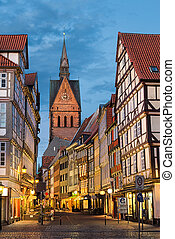 Old town of Hannover, Germany - Marktkirche and the old town...