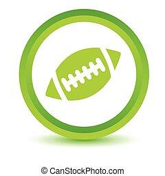 Rugby ball volumetric icon - Green round volumetric icon...