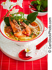 Tom yum soup - Tom Yum soup- Traditional Thai spicy soup...