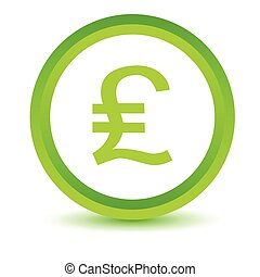 Pound sterling volumetric icon - Green round volumetric icon...