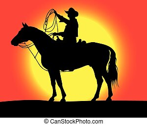 cowboy .eps - cowboy on a background of sunrise