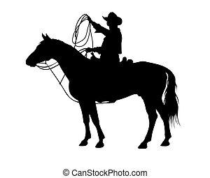 cowboy .eps - cowboy on a horse