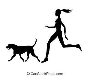 girl with dog .eps