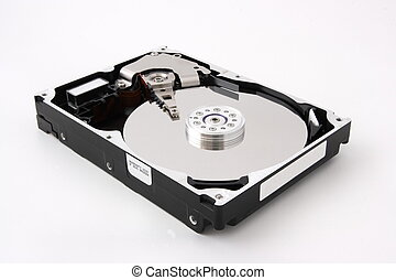 harddisk - Opened computer harddisk on white background