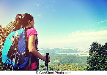 climber looking into the wilderness on mountain peak