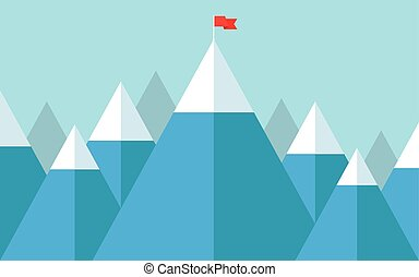 Flag on the peak - Vector illustration of success - top of...